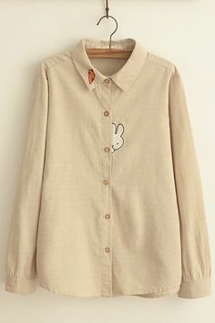 Plain Cartoon Embroidery Lapel Button Down Loose Long Sleeve Blouse