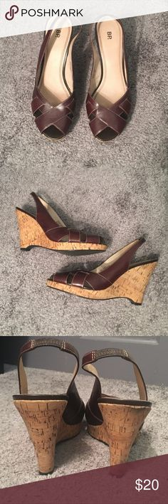 "BP Wedges Brown slingback open toe shoes with a 4.5"" heel. Excellent used condition! BP Shoes Wedges"