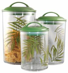 Reston Lloyd Corelle Coordinates Acrylic Canister, Bamboo Leaf, Set of 3 by Reston Lloyd, Ltd.. $34.00. Made from bpa-free material. Lids have air tight gaskets. Dishwasher safe. Care instructions printed on the bottom of each canister. 3-1/2 cup, 5-1/2 cup, and 9 cup capacity. Reston Lloyd is a leading manufacturer and distributor of kitchenware, specializing in enamel on steel products. For nearly 30-year, we have been dedicated to providing the highest quality products, wi...