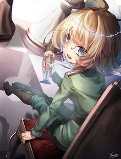 youjo senki tanya degurechaff saraki high resolution artist name 1girl ahoge bangs blonde blue eyes boots chair chess piece dutch angle from behind holding knee boots legs together long sleeves looking at viewer looking back military military uniform nutcracker open mouth pawn reflection signature sitting smile solo teeth uniform