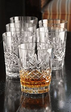 Waterford double old fashioned glasses.... why drink your scotch out of anything less?