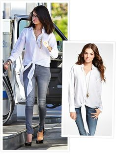 The multi-talented star dressed up her skinny jeans with a flowy tie-waist top from Ann Taylor.