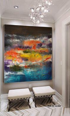 Handmade Contemporary Art large Acrylic Painting Abstract Canvas Art, Original Artwork, large Blue yellow orange red painting, modern art