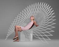 Peacock Chair de editora de diseño canadiense UUFIE la fragilidad de un pavo real en plástico.