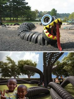 Snake for kids play area -recycled-tires-playgrounds Tire Playground, Kids Indoor Playground, Playground Ideas, Outdoor Play Spaces, Outdoor Fun, Outdoor Crafts, Tyres Recycle, Recycled Tires, Tire Craft