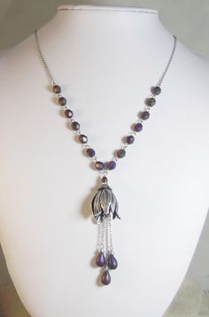 Art Nouveau Tulip with Deep Purple Faceted Beads and Teardrops