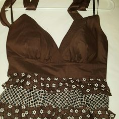 Bebe Halter top Brown ruffly with flowers bebe halter top bebe Tops Blouses