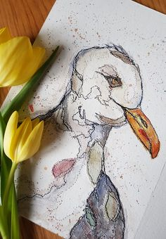 """This unframed handsome chap has been created on 300gsm watercolour paper. I have used a mix of watercolour painting, raw edge applique with recycled fabric scraps and free motion sewing to create this original and unique artwork.  It measures 14"""" x 10""""."""