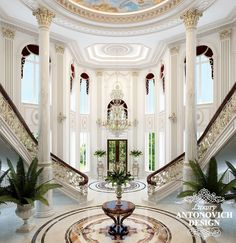 Fantastic Luxury Foyer Design with #DoubleStaircase