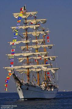 The tall ship ARM Cuauhtemoc, Mexico.