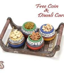 Buy Set of 4 Hand painted Terracotta Pots with Dry fruits and Tray diwali-dry-fruit online