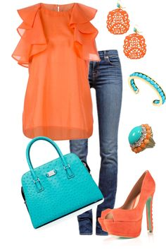 """Date Night"" by honeybee20 ❤ liked on Polyvore Love the handbag ! And the orange color"