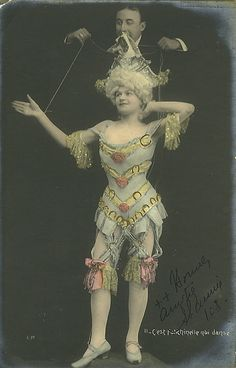 Marionette Girl postcard, c. early 20th C.