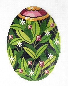 Lee Jeweled Jungle Orchids Egg Handpainted Needlepoint Canvas