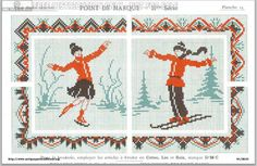 Dillmont, Th. de, ed. D.M.C. Point de Marque [2] IIme Série. Page 18. Ski and ice skating winter scenes, more like portraits, 1933