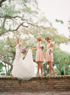 bridesmaid dresses in peach, soft pink, coral (mix)
