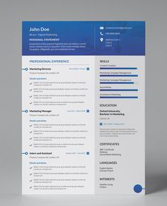 CV Designs - Gallant Blue - Modern Editable 1 Page Resume Template One Page Resume Template, Modern Resume Template, Creative Resume Templates, Cv Template, Layout Template, Cover Letter For Resume, Cover Letter Template, Letter Templates, Cv Design