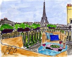 Paris Rooftop Wine by Fifi Flowers