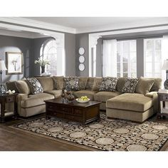 Small Living Room Set Up - Grenada Mocha Large Sectional Living Room Set Design Living Room, Living Room Paint, Living Room Grey, Living Room Interior, Home Living Room, Living Area, Kitchen Living, Sectional Living Room Sets, Large Sectional