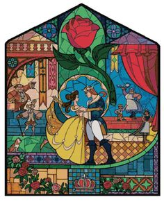 Cross Stitch Pattern DISNEY Beauty And The Beast Stained Glass #2  Pdf File Only