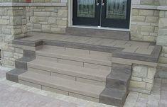 House concrete steps resurfaced with Jewel Stone (Decorative Concrete Overlay). Front Door Steps, Porch Steps, Front Doors, Concrete Porch, Concrete Steps, Concrete Overlay, Curb Appeal, Tile Floor, Garage Doors