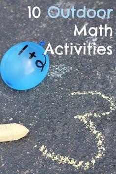 Reading Confetti: 10 Outdoor Math Activities: Kid's Co-op Math Classroom, Kindergarten Math, Teaching Math, Maths Eyfs, Kinesthetic Learning, Teaching Tools, Math Tools, Outdoor Classroom, Classroom Ideas