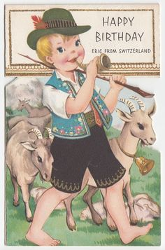 Vintage Greeting Card Children Switzerland Birthday Boy Goats Cute 1950s J073 | eBay