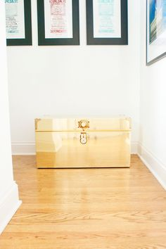Pet Food Storage Tip: Use 'non-pet' items like this gold trunk to hide unsightly pet food bags/tins - image from Jess Lively's pet friendly Chicago apartment. Jess Lively, Golden Retriever Labrador, Pet Food Storage, Chicago Apartment, Fuzz, Oslo, Tins, House Tours, Home And Living
