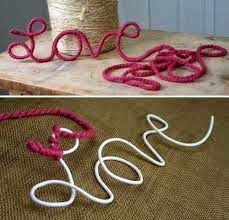 DIY words/sayings with leftover wire, hangers and yarn. Cute Crafts, Creative Crafts, Crafts To Make, Arts And Crafts, Crafts With Yarn, Crafty Craft, Crafty Projects, Diy Projects To Try, Yarn Projects