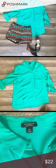 Ann Taylor gorgeous green silk top 6P Like New Ann Taylor  Gorgeous Green Silk Top  Petite size 6  Originally $90.00 Sleeve has tab buttons to roll up  I had this in my Actors prop wardrobe and these were worn once by Actress on set.   I'm a professional makeup artist and wardrobe stylist for film and print. Come follow my antics in film on my instagram under my company Bombshell Factory. Ann Taylor Tops Button Down Shirts
