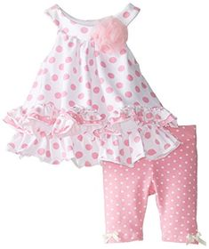 Pippa & Julie Baby-Girls Newborn Pink and White Polka Dot Set Frocks For Girls, Kids Frocks, Little Girl Outfits, Little Girl Dresses, Kids Outfits, Girls Dresses, Baby Girl Dress Patterns, Baby Dress Design, Baby Girls
