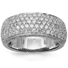 14K Solid White Gold Mens Diamond Wedding Band 3.08 Ctw