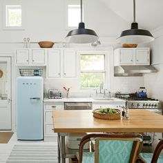 Walls, cabinets, and floors are painted white to bring in as much light as possible to designer Jenny Wolf's East Hamptons kitchen. | Coastalliving.com