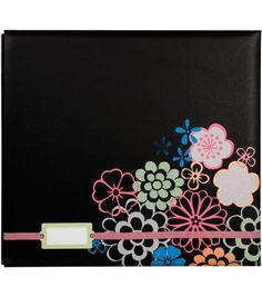 Black Floral 12''X12'' Postbound Album, , hi-res