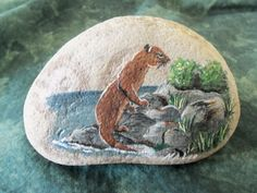 River Otter at Water's Edge  Handpainted Wildlife Stone Art Painting Acrylic     Paperweight