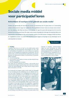 Sociale media middel voor participatief leren - Springer School
