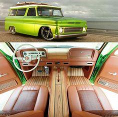 1966 Chevrolet Suburban Lime Crush - Oldschool by CARakoom Chevrolet Suburban, Chevrolet Trucks, Gmc Trucks, Custom Trucks, Custom Cars, Custom Center Console, Dashboard Car, Car Upholstery, Bugatti Cars