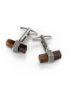 ALFA PERRY Silver-Tone & Brown Cuff Links #aholidayinnewyork #cufflinks #century21stores