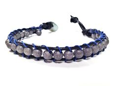 Gun Metal Stardust Leather Woven Bracelet made by CHRISTIANIMAL