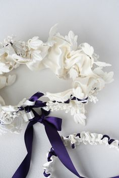 Custom Heirloom Luxurious Lace and Purple Coset Tie Wedding Garter Set-by The Garter Girl