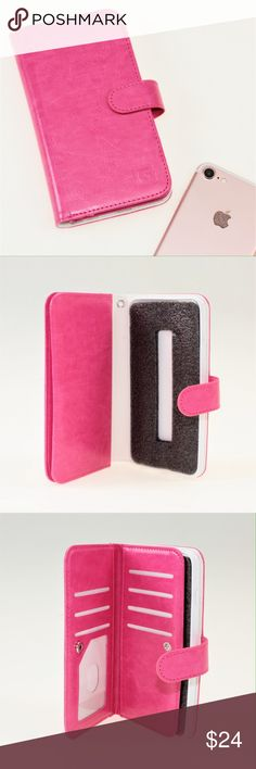 Pink Faux Leather Wallet Case - iPhone 6/6s Plus This adorable phone case allows you to easily remember your wallet AND your phone! The wallet side of the case has seven card slots and two larger cash slots, all closed safely with a snap. This wallet is brand new and has never been used, but the packaging has been opened. #10WKDN Accessories Phone Cases