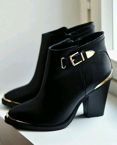 black with gold boots
