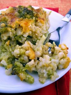 Broccoli Cheese Rice. No soup cans. only REAL food..  still pretty cheesy. I'm going to try it with a white cheese, a bit less cheese, skim milk and add mushrooms, lots of mushrooms!