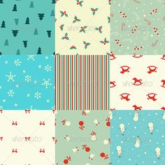 This set contains 9 christmas seamless pattern in vector.