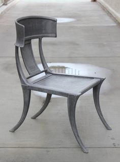 Pair of Michael Taylor Cast Aluminum Klismos Chairs image 2