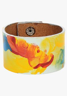 Multicoloured bracelet by Fume. This bracelet is made from leather.