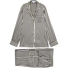 Olivia Von Halle Lila Nika Striped Silk Pyjama Set - Size 4 ($485) ❤ liked on Polyvore featuring intimates, sleepwear, pajamas, striped pajama set, silk pjs, striped pjs, silk pajama sets and silk pajamas