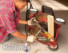Lawn Mower Blade Sharpening: Your lawn mower blade is dull. Sharpen the blade twice each season to help maintain a green, healthy lawn. A sharp blade not only cuts blades clean so grass plants recover quickly, it helps reduce your lawn mowing time. http://www.familyhandyman.com/automotive/lawn-mower-repair/lawn-mower-blade-sharpening/view-all