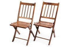 Wood Folding Chairs, Pair