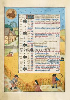 f. 4v, July. Leo, the lion; men and a woman harvesting corn interspersed with poppies in a summer landscape with a farmhouse in ...
